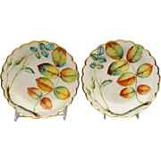 Pair Antique 19th century Royal Worcester Porcelain Blind Earl Plates