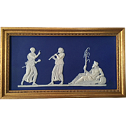Antique 19th century Wedgwood Dark Blue Neoclassical Jasperware Plaque of a River God in Gilt Wood Frame