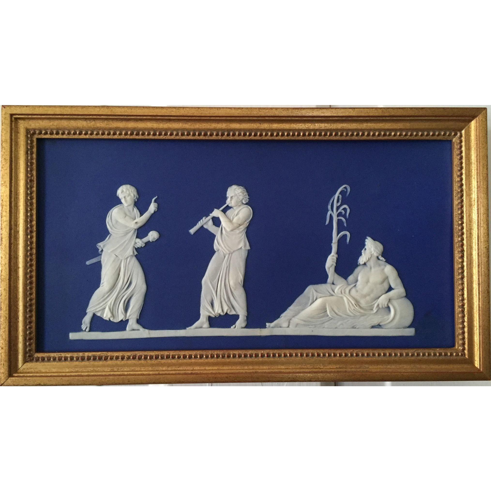 Antique 19th Century Wedgwood Dark Blue Neoclassical