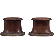 Pair Antique English Regency Carved Wood Mantel Display Base Stands for Porcelain Chargers or Pedestal Columns for Sculpture 19th century