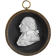 Antique Early 19th century French Desprez Sulphide Glass Cameo of Louis XVIII in Gilt Bronze Frame