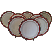 Set 8 Large Early 19th century Wedgwood Creamware Dinner Plates with Orange & Brown Border