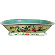 Very Large Antique 19th century Chinese Republic Period Porcelain Centerpiece Bowl in Famille Jaune & Turquoise Palette