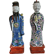 Pair Antique 19th century Chinese Porcelain Immortal Figures in Famille Rose Palette