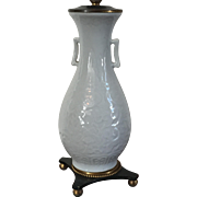 Antique 19th century Chinese Blanc de Chine Porcelain Vase Mounted as a Lamp