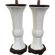 Pair Antique 19th century Chinese Monochrome Vases in Blanc de Chine Glaze Mounted as Lamps with Custom Carved Wood Fittings