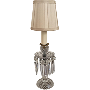 Antique 19th century English Cut Crystal Girandole Luster Candlestick Electrified as a Lamp with Silk Shade