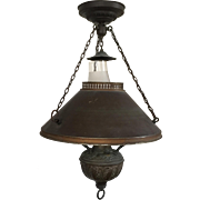Antique 19th century Chandelier Hanging Oil Lamp Ceiling Light Fixture Western Motif Now Electrified Frosted Glass Shade