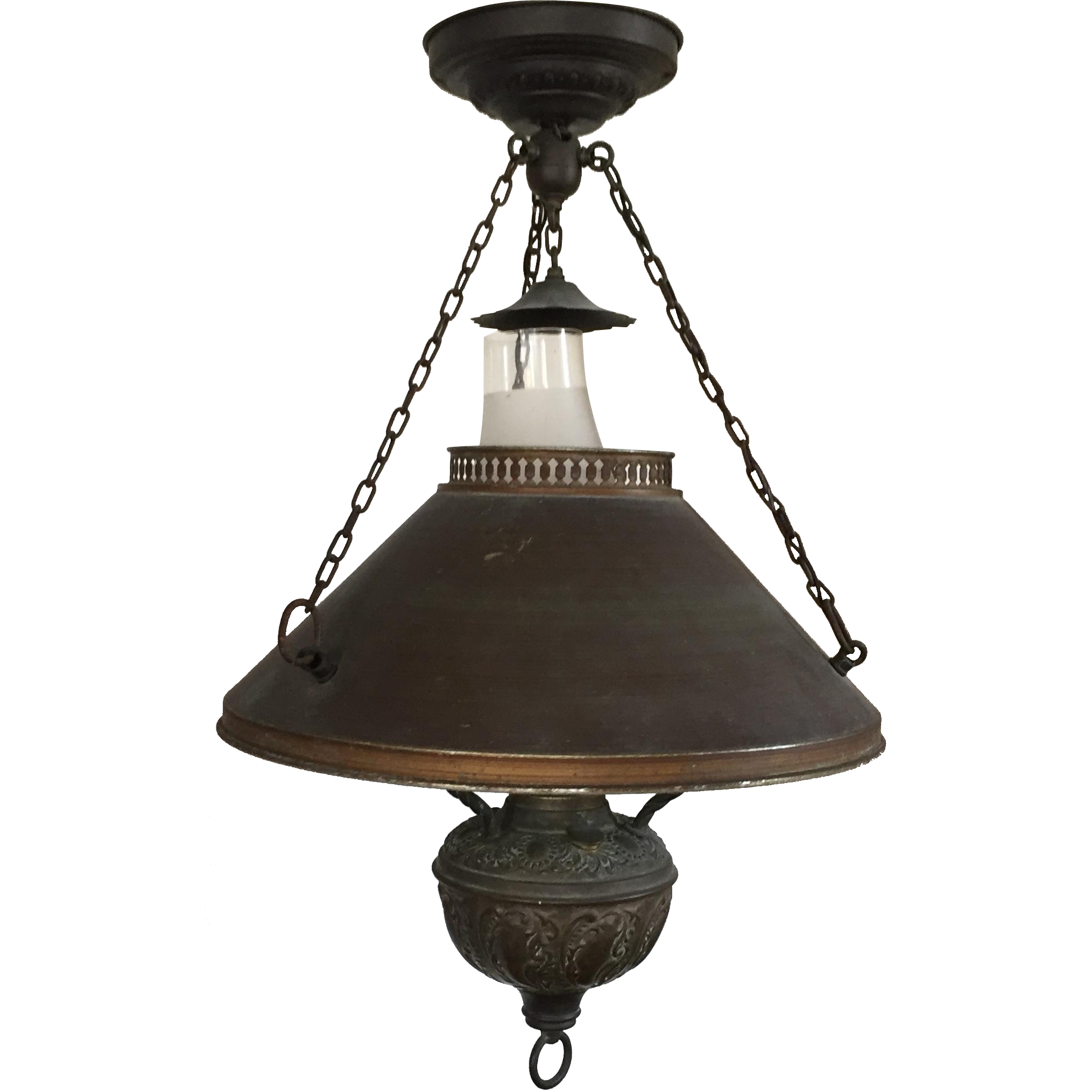 Antique 19th Century Chandelier Hanging Oil Lamp Ceiling