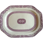 Large Antique 19th century Purple Puce Copeland Spode Porcelain Turkey Platter Decorated in the Chinese Fitzhugh Taste