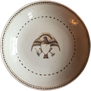 Antique Early 19th c. Chinese Export Porcelain Saucer Plate with American Eagle 1800 - 1810