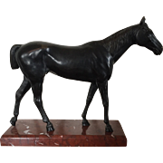 Fine Antique Late 19th century Patinated Bronze Thoroughbred Horse Mounted on Rouge Marble Base
