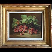 John Clinton Spencer (1861 - 1919) Oil on Canvas Still Life of Raspberries 19th century
