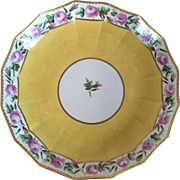 Antique 18th century English Georgian Derby Porcelain Cake Plate Decorated with a Band of Roses on Bright Yellow Ground