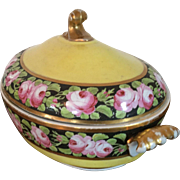 Antique Early 19th century Coalport Porcelain Vegetable Tureen Entree Dish Decorated with Roses on Bright Yellow Ground 1805
