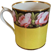 Antique Early 19th century English Georgian Coalport Porcelain Tankard Mug Decorated with Pink Roses on Bright Yellow Ground 1805