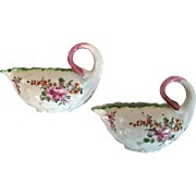 Pair Antique 18th century Georgian Derby Porcelain Small Scale Lettuce or Cabbage Leaf Form Sauce Boats Decorated with Floral Sprigs