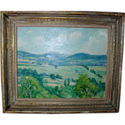 George Davidson Connecticut Impressionist Plein Air Landscape Oil Painting on Board c. 1930 with Period Lowy Frame