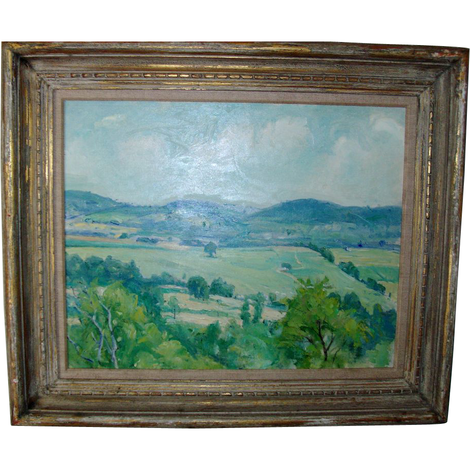 Connecticut watercolor artists directory - George Davidson Connecticut Impressionist Plein Air Landscape Oil Painting On Board C 1930 With Period Lowy Frame