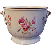 Antique Early 19th c. Coalport Porcelain Cachepot Planter or Wine Bottle Cooler 1810 Decorated with Botanical Floral Specimens