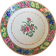 Large Antique Early 19th century Chinese Export Porcelain Low Bowl Charger in Famille Rose Mandarin Palette