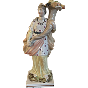 Large Antique Early 19th century Pearlware Staffordshire Classical Figure of Ceres Roman Goddess of Agriculture