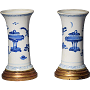 Pair Antique 18th c. Chinese Kangxi Porcelain Sleeve Vases Decorated with Precious Objects in Blue & White Glaze