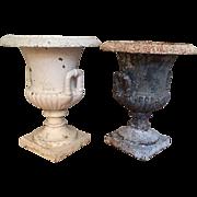 Pair antique 19th century American Cast Iron Campagna Form Garden Urns