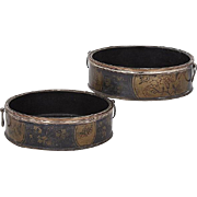 Pair Antique Early 19th c. English Regency Black Japanned Papier Mache Lacquer & Old Sheffield Silver on Copper Wine Bottle Decanter Coasters 1810