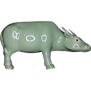 Antique Late Qing Chinese Monochrome Porcelain Figure of an Ox in Celadon Glaze c. 1890 - 1910