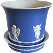 Large Antique 19th century Wedgwood Adams Light Blue Jasperware Cachepot Planter or Flower Pot with Stand