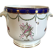 Antique 18th century Chelsea Derby Porcelain Bottle Cooler or Cachepot Planter Decorated with Urns, Insects, Butterflies and Garlands 1780
