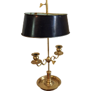 Gilt Bronze Two Light Adjustable Candlestick Bouillotte Lamp in the French Empire Taste with Tole Shade
