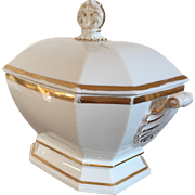 Antique 19th century Old Paris Porcelain White & Gold Soup Tureen in the Empire / Classical Taste