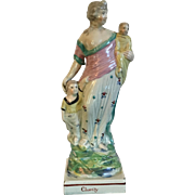 Antique Early 19th century English Staffordshire Pearlware Figure of Charity 1810