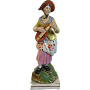 Antique Early 19th century English Staffordshire Pearlware Figure of a Lady Musician Playing a Mandolin 1810