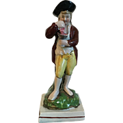 Antique Early 19th century English Staffordshire Pearlware Figure of a Young Man