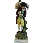 Antique Early 19th century English Staffordshire Pearlware Figure of a Shepherd Carrying his Sheep 1810