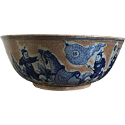 Large Antique 19th century Chinese Late Qing Porcelain Punch Bowl Decorated in Blue & White with Crackle Glaze
