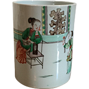 Antique Chinese Famille Vert Porcelain Brush Pot Decorated with Figures in a Garden Landscape in Kangxi Taste
