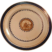 Antique Early 19th century Chinese Export Porcelain Dinner Plate for the American Market 1800 - 1810