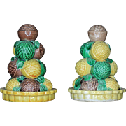 Pair Antique 19th century Chinese Porcelain Temple Altar Fruit Pyramids of Walnuts in Famille Vert Glaze