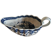 Large Antique 18th century Worcester Porcelain Sauce Boat Decorated in Blue & White in the Chinese Kangxi Taste