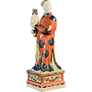 Antique 19th century Chinese Export Famille Rose Porcelain Nodding Head Court Lady Holding a Vase