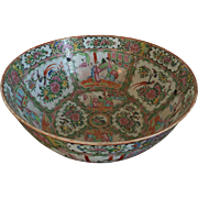 Large 16 Inch Antique 19th c. Chinese Export Famille Rose Mandarin Punch Bowl Profusely Decorated Inside and Out with Butterflies, Insects and Court Scenes 1850