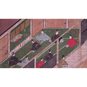 18th century Japanese Scroll Painting Depicting a Highly Stylized Court Scene in Bright Colors