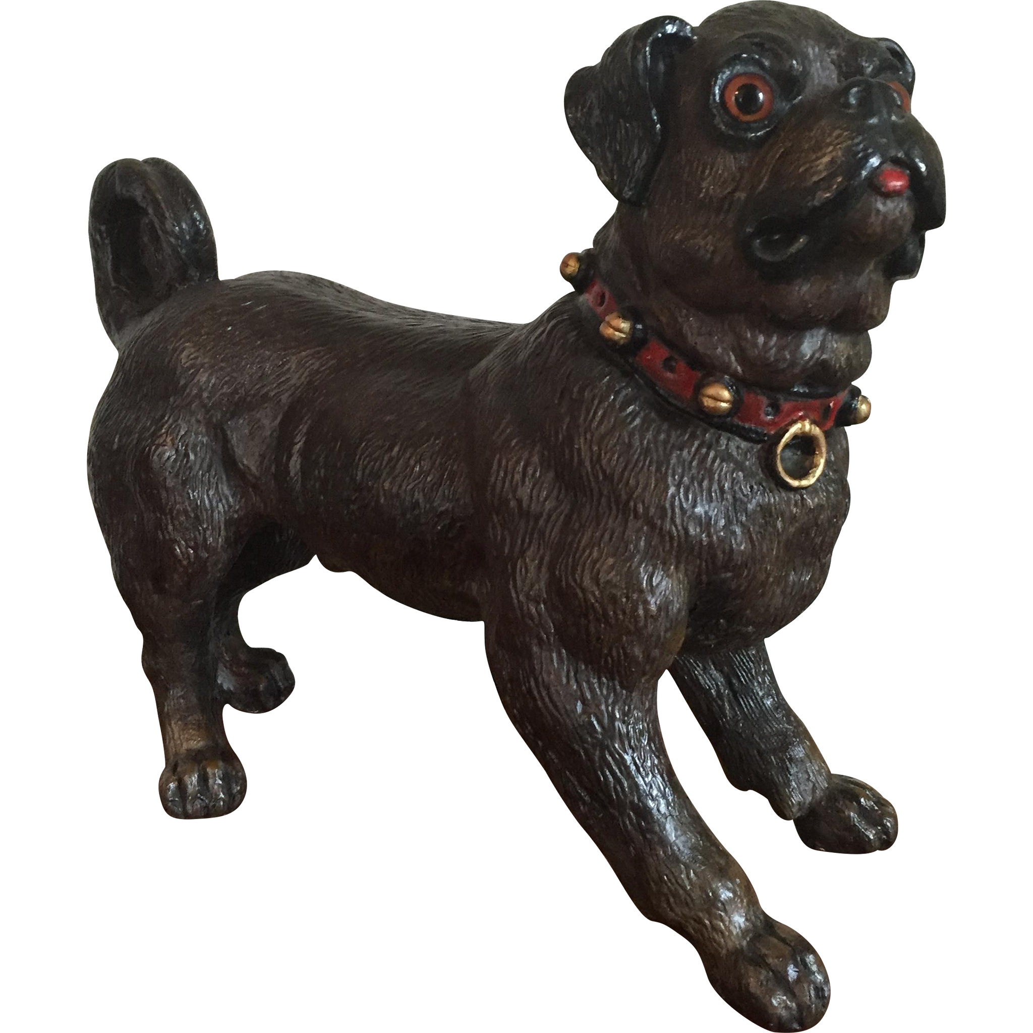 Large Antique 19th Century Austrian Terra Cotta Pug Dog Or
