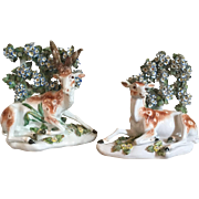 Pair Antique 18th century Derby Porcelain Models of Recumbent Deer - Buck & Doe at Lodge