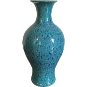 Small Antique 18th century Chinese Monochrome Porcelain Baluster Shaped Vase with Robin's Egg Blue Speckled or Flambe Glaze