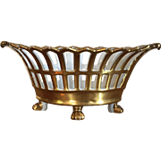 Antique Early 19th century Empire Old Paris Porcelain Navette Shape Reticulated Basket or Corbeille Fully Gilt & Rising on Animal Paw Feet